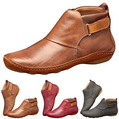 Womens Ladies Flat Ankle Boots Winter Arch Support Casual Pu Leather Shoes Size • 12.69£