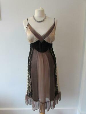 MONSOON Ladies Brown Beige Pure Silk Slip Occasion Dress Black Lace Trim Size 14 • 4.99£
