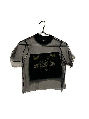 AU6 • Buy Black Mesh Reworked Vintage Capitals T-Shirt Cropped Size Small UO Y2K 90s