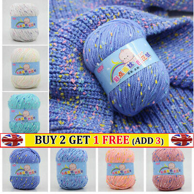 50g Knitting Crochet Yarn Super Soft Baby Cotton Wool Double Rainbow 21 Colours • 4.02£