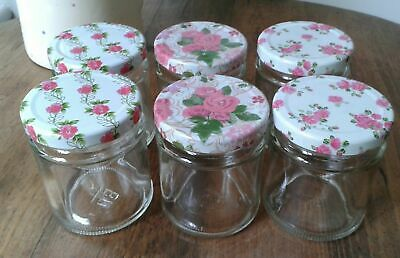 6 8 Oz/190 Ml Round Glass Jam Jars Candles/Crafts Pink Roses Flowers/Floral Lids • 7.69£