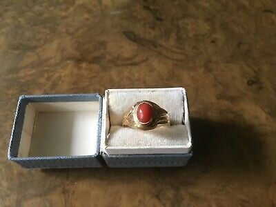 18ct Gold Mediterranean Small  Coral Ring • 160£