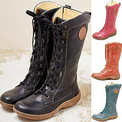 Womens Mid-Calf Snow Boots Arch Support Lace Up Fur Warm Biker Riding Shoes Size • 22.79£