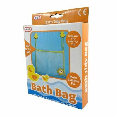 Kids Baby Bath Toy Tidy Duck Organiser Mesh Net Storage Bag Suction Cup Bathroom • 3.49£