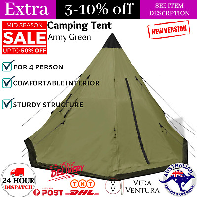 AU111.92 • Buy 4 Person Tent Green Outdoor Camping Hiking Canopy With Window & Carrying Bag NEW