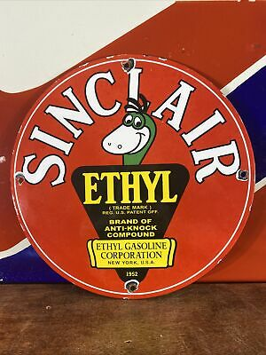$ CDN13.35 • Buy 1952 Vintage Style ''sinclair'' W/ Ethyl 12 Inch Gas & Oil Plate Porcelain