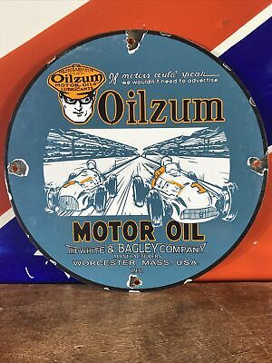 $ CDN20.72 • Buy Vintage Style''oilzum'' Gas & Oil Porcelain 12'' Pump Plate America's Finest Oil