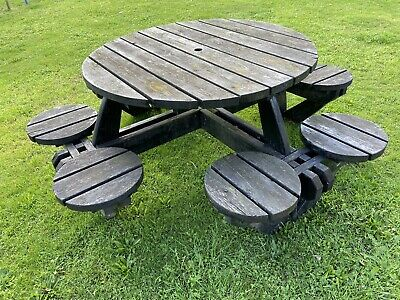 Black Picnic Pub Bench 8 Seater Round Wooden Garden Table • 75£