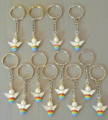 12 Christmas Tree Hanging Decorations  RAINBOW 🌈GUARDIAN ANGEL KEYRINGS  CHARMS • 6.99£