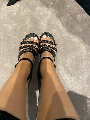 AU290 • Buy Authentic Chanel Leather Sandals Size 36