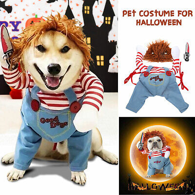 Pets Cat Dogs Costume Party Chucky Halloween Cosplay Poppy Fancy Dress Jumpsuits • 12.49£