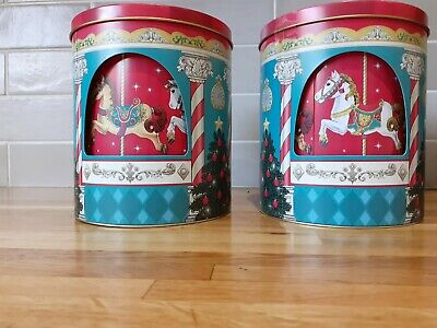 Working Musical Christmas Carousel Rotating Buscuit Sweet Gift Tins X 2, Empty • 4.99£