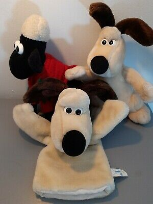 VINTAGE Wallace & Gromit Soft Toys X 3 Shaun The Sheep Rare Xmas Jumper Puppet • 10£