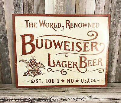 $ CDN23.99 • Buy Budweiser Bud The World Renowned Lager Beer St Louis MO Ivory Metal Tin Sign