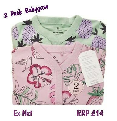 EX-STORE Baby Girls Babygrow Sleepsuits  2 Pack 100% Cotton Playsuit NEW BNWT • 8.50£