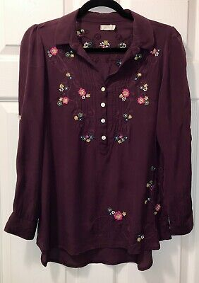$ CDN1.65 • Buy Euc Womens Sz Small Anthropologie Kyla Seo Rayon Shirt Blouse Embroidered Plum