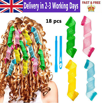 UK 18X Magic Long Hair Curlers Curl Leverage Rollers Spiral Styling Tool +Hook • 9.99£