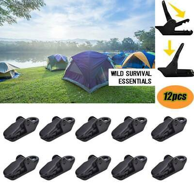 12pcs Awning Clamp Tarp Clips Snap Hangers Tent Camping Survival Tighten Tool • 2.99£