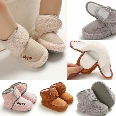 Newborn Baby Infant Fur Lined Snow Boots Crib Booties Shoes Winter Warm 0-18M • 7.39£