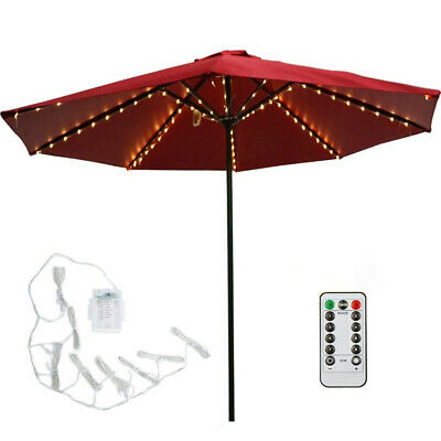 104 LED Garden Parasol Umbrella Chain Light Fairy String Lights Remote Control • 9.82£