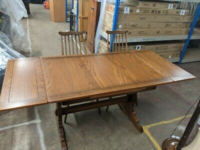 ERCOL Elm Extending Dining Table With 2x Goldsmith Windsor Chairs  - CS S96 • 49.99£