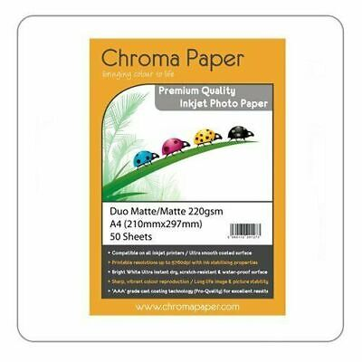 £5.96 • Buy Chroma Paper - A4 Double Sided Matte/Matte Pro Inkjet Photo Paper 220gsm 50 Pack
