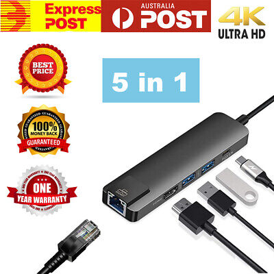 AU31.95 • Buy USB C Hub Type-C USB 5 IN 1 HDMI 100MB/S Ethernet Macbook, Tablets Device Type C