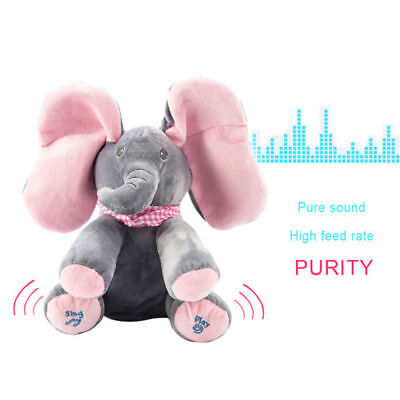 Peek-a-boo Music Elephant Baby Plush Toy Stuffed Doll Animated Singing Baby Gift • 12.99£