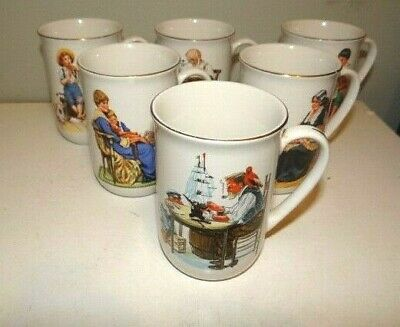 $ CDN1.32 • Buy  Norman Rockwell Museum Collection 1982 Coffee Mugs Cups Gold Trim Set Of 6