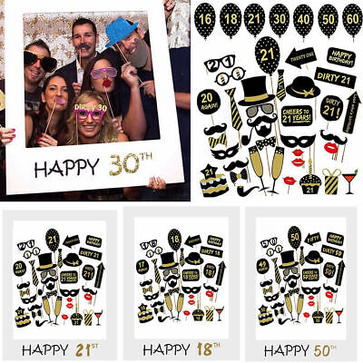 £3.99 • Buy Happy 18/30/40/50/60th 21st Birthday Frame Photo Booth Props Paper Party Decor