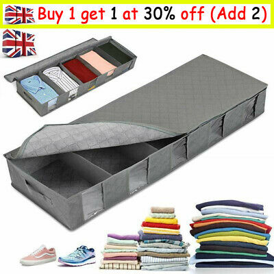 Large Capacity Under Bed Storage Bag Box 5 Compartments Clothes Organizer • 7.59£