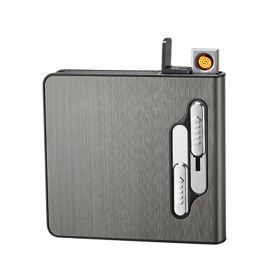 Automatic Cigarette Case USB Rechargeable Windproof Lighter 20 Cigarettes Box • 9.49£