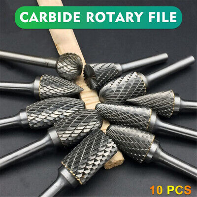 £9.59 • Buy 10Pcs Rotary Burr Bit Tungsten Carbide Point Die Grinder Shank Carving Set Tools