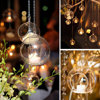 Clear Glass Ball Fillable Bauble Hanging Table LED Candle Tea Light Holder UK • 3.79£