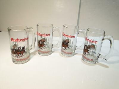 $ CDN26.07 • Buy 4 Budweiser Glass Mug Clydesdale Horses Wagon Beer 1992 12 Oz Vintage
