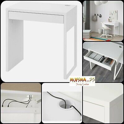 NEW IKEA MICKE DESK Drawer Computer Desk Home Office Workstation White 73x50cm • 75.99£