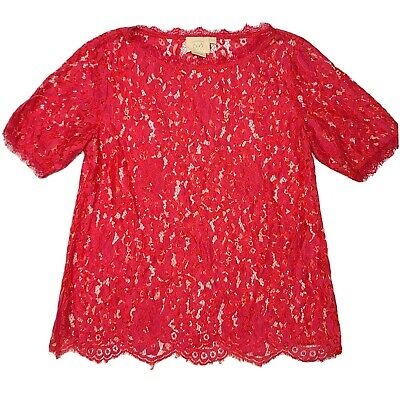 $ CDN30.23 • Buy Vanessa Virginia Anthropologie Small Red Short Sleeve Shirt Lace Floral Raw Hem