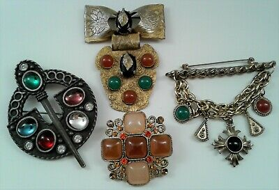 $ CDN3.93 • Buy Antique Vintage Costume Jewelry Victorian Cabochon Medallion Bar Brooch Lot 4