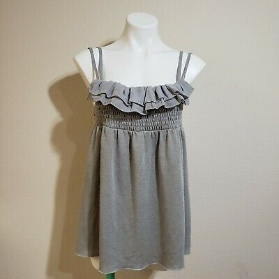 $ CDN33.02 • Buy  Anthropologie Hazel Smocked Ruffle Baby Doll Tunic Blouse Gray Size Medium