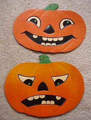 $ CDN31.23 • Buy 2 Vintage Embossed Die-cut 12  Jack-o-lanterns - Angry & Happy Faces - Luhrs Usa