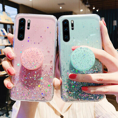 Bling Glitter Soft Case & Holder For Huawei Honor 10 Lite 20 8S Nova 5T Y6S Y5 • 1.99£