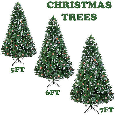 5/6/7ft Large Artificial Christmas Tree Snow & Cones Realistic Xmas Decoration • 16.95£