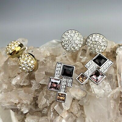 $ CDN0.01 • Buy Lot 3 Vintage Swan Signed Swarovski Austrian Crystal Stud Earrings LEM NR