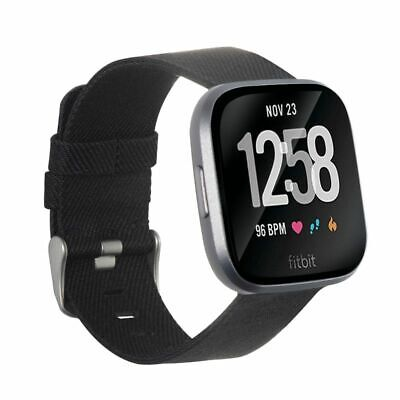 $ CDN13.60 • Buy For Fitbit Versa 2 1 Lite SE Canvas Fabric Band Replacement Watch Strap Black