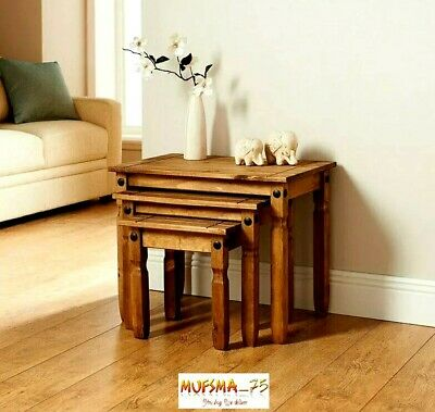 Rio Luxury Nest Of 3 Tables 100% Wooden Solid Pine Rustic Finish Table Furniture • 109.99£
