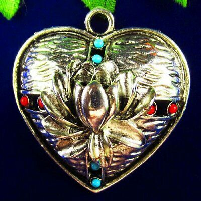 $ CDN0.01 • Buy Q83062 Tibetan Silver Turquoise Lotus Flower Heart Pendant Bead 43x42x11mm