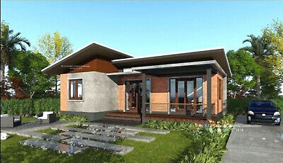 Custom Modern House Home Building 3 Bedroom 2 Bathroom Plans With Garage CAD • 7.15£