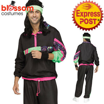 AU38.50 • Buy CA531 Mens 80s 90s Tracksuit Costume Shell Suit Retro Fancy Dress Outfit Scouser