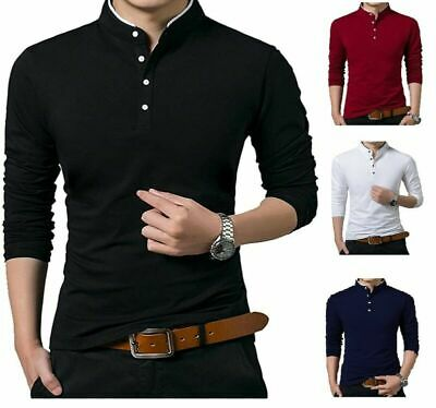 Men's Grandad Shirts Polo Shirt Long Sleeve Mandarin Collar Slim Fit Pique PL14 • 14.99£