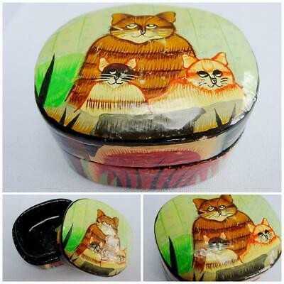 Indian Box Vintage Hand Made Wood Box Cat Box Hand Painted Box Painted Cat